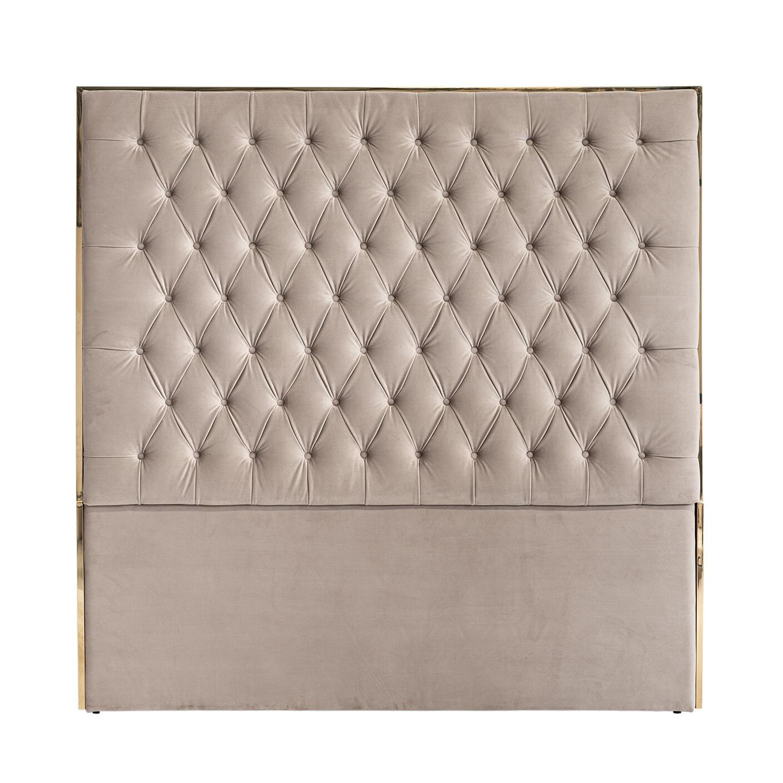 Richmond Hoofdbord 'Lowell' Velvet, kleur Khaki - Goud, 180 x 180cm