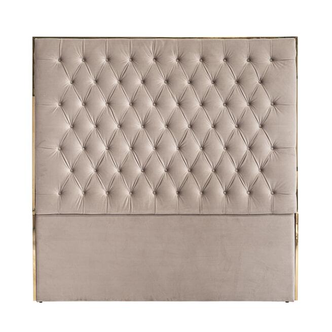 Richmond Hoofdbord 'Lowell' Velvet, kleur Khaki / Goud, 180 x 180cm