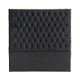 Richmond Hoofdbord 'Lowell' Velvet, kleur Zwart / Goud, 180 x 180cm