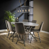 LifestyleFurn Ovale Eettafel 'Nola', Betonlook, kleur Grijs, 200 x 100cm