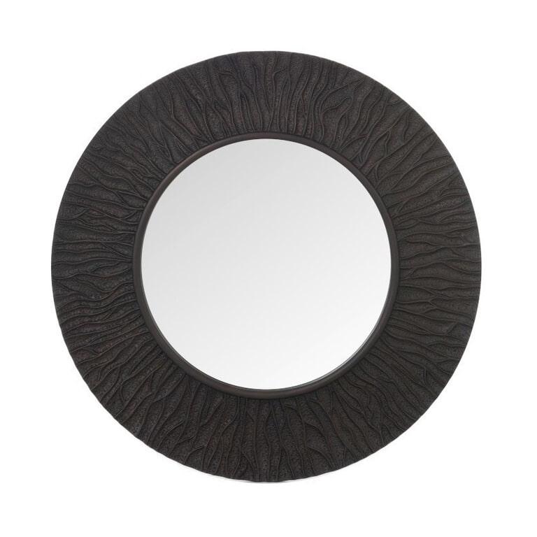 J-Line Spiegel 'Eliane' kleur Donkerbruin, Ø100cm