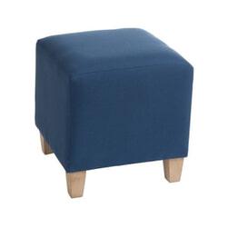 J-Line Poef 'Gillis' kleur Blauw, 37 x 37 cm