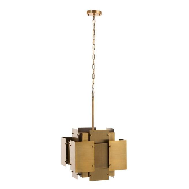 J-Line Hanglamp 'Gisella' Vierkanten, kleur Mat Goud