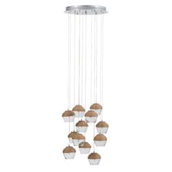 J-Line Hanglamp 'Augustinus' 10-Lamps, kleur Naturel