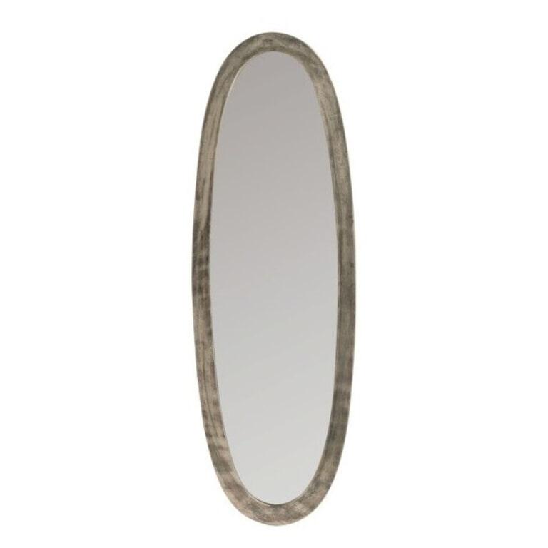 J-Line Ovale Spiegel 'Josee' Small, kleur Antiek Grijs