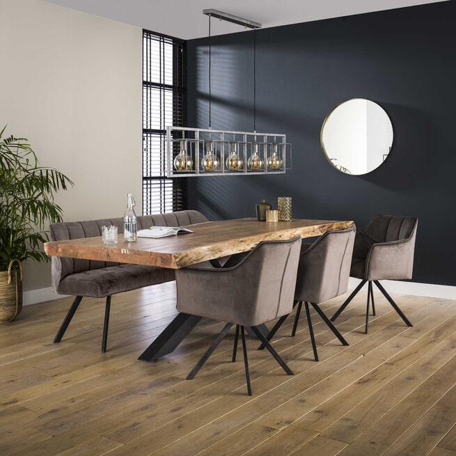 Eetkamerbank 'Thandie' Velvet, 180cm, kleur Antraciet
