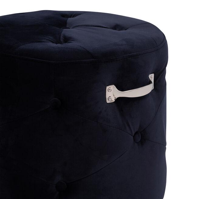 Rivièra Maison Poef 'Bowery' Velvet III, kleur Indigo