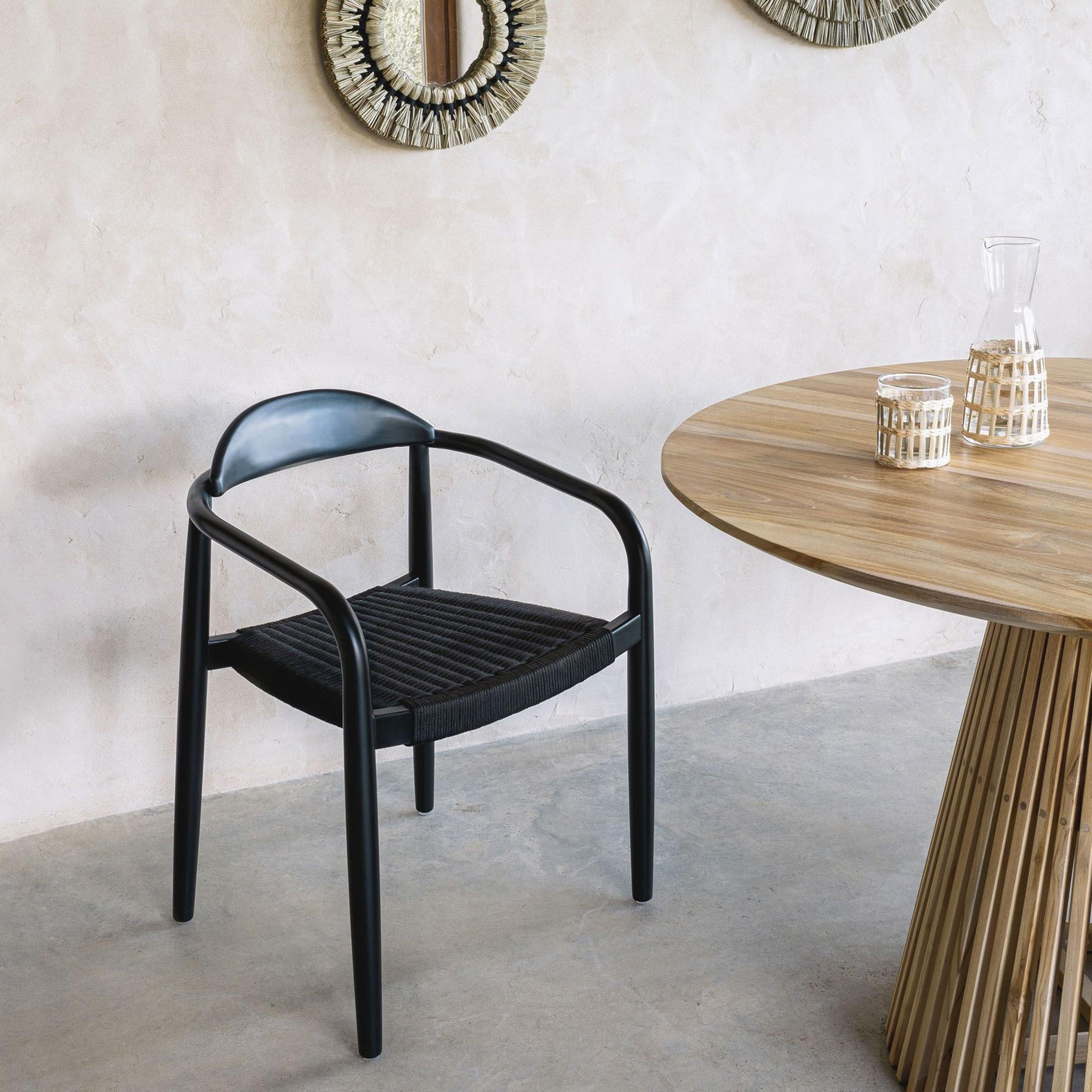 Kave Home Tuin - Eetkamerstoel 'Nina', kleur Zwart