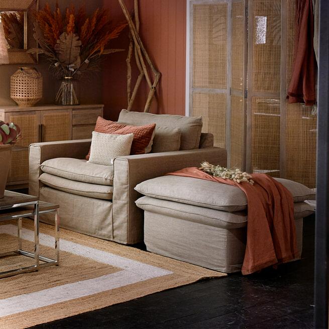 Rivièra Maison Hocker 'Continental' 105 x 90cm, Washed Cotton