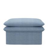 Rivièra Maison Hocker 'Continental' 105 x 90cm, Washed Cotton, kleur Ice Blue