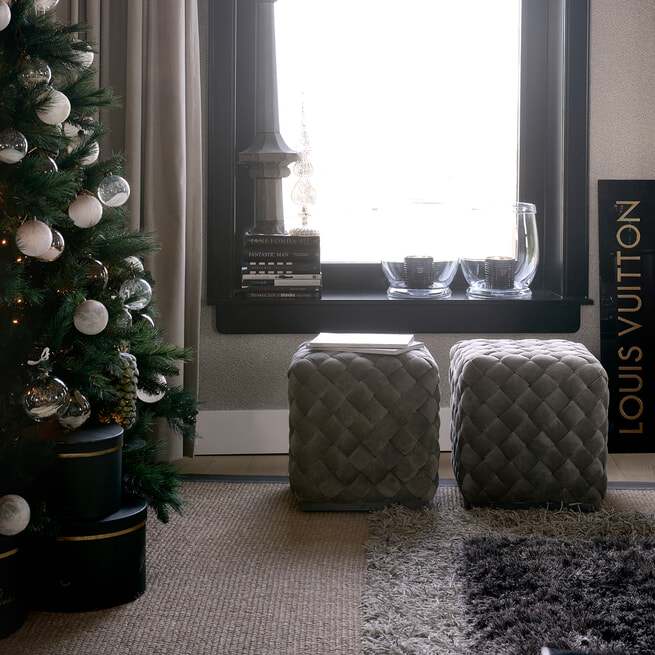 Rivièra Maison Poef 'Room 48' 40 x 40cm, Fine Tweed, kleur Pebbles