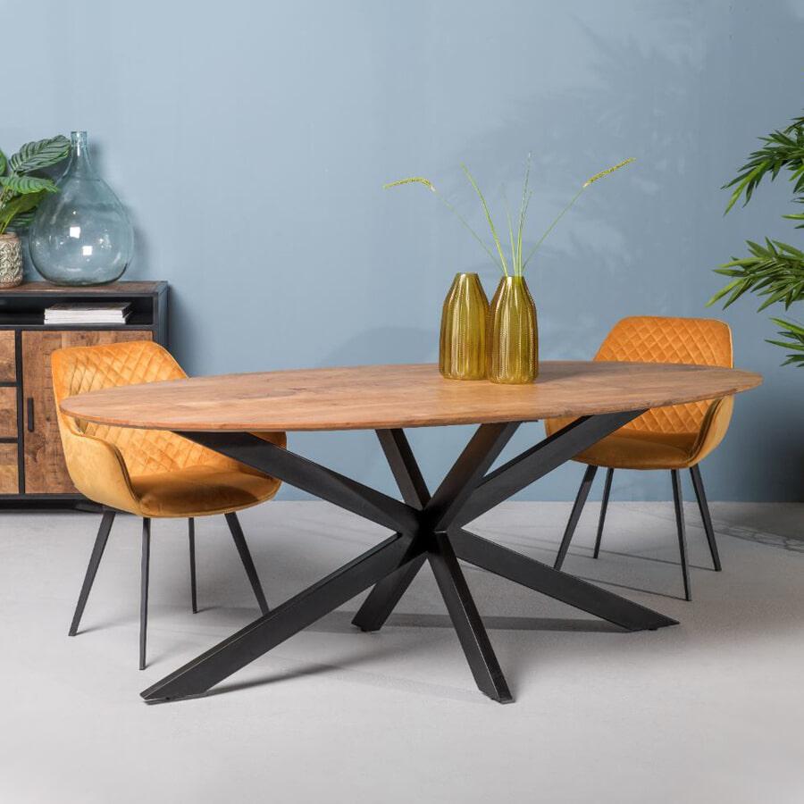 LivingFurn Ovale Eettafel 'Oslo' Acaciahout en staal, kleur Naturel, 240 x 110cm