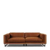 Rivièra Maison 3,5-zits Bank 'Biltmore' Leather en Velvet, kleur Cognac