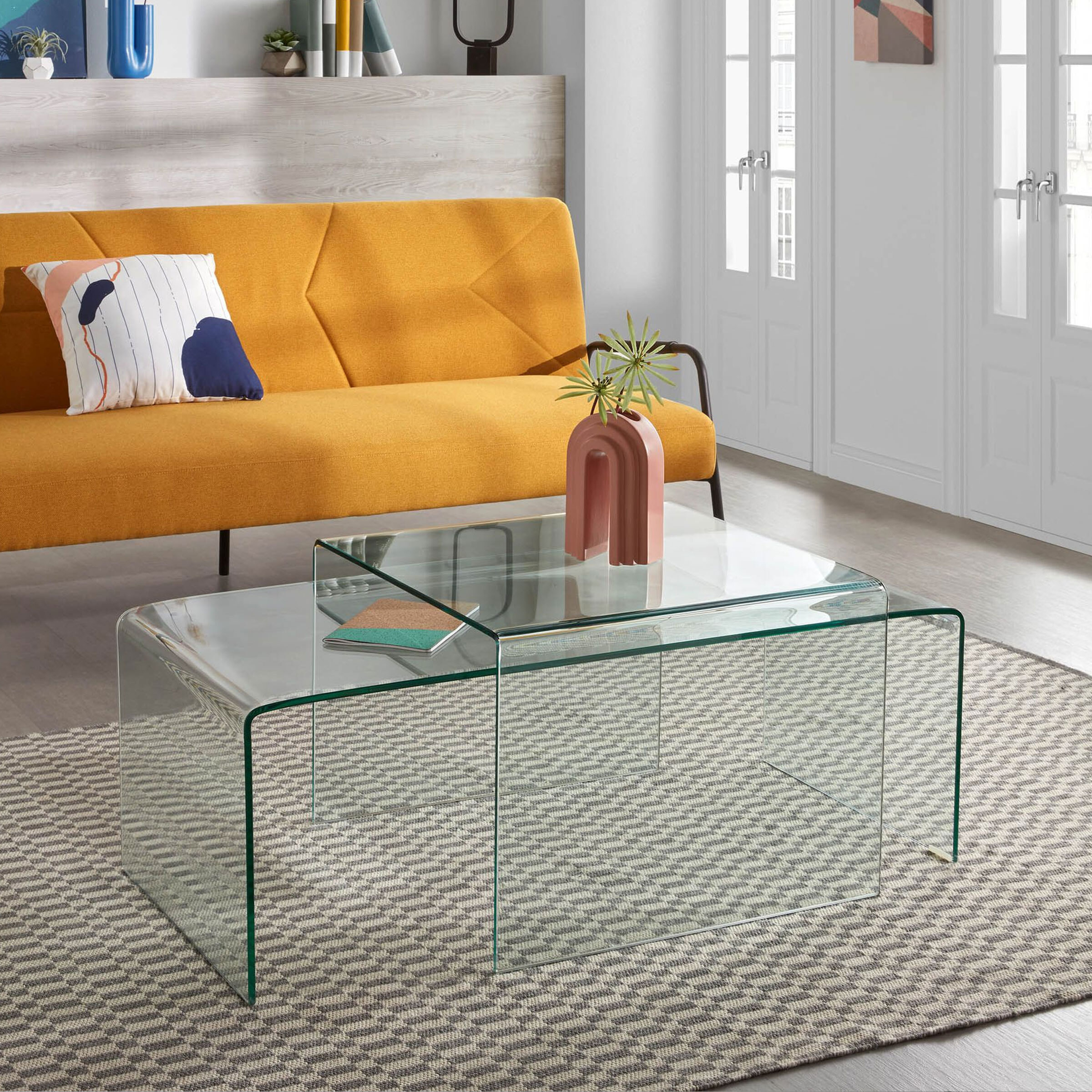 Kave Home Glazen Salontafel 'Burano', 110 x 50 cm