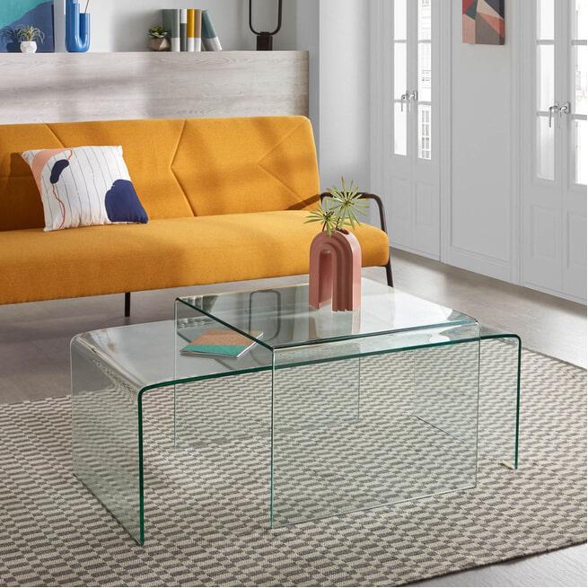 Kave Home Glazen Hoek-salontafel 'Burano', 60 x 60 cm