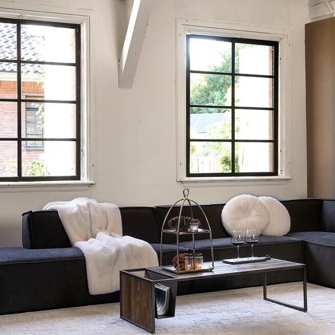 Rivièra Maison Modulaire Bank 'The Jagger' Center 125cm, Celtic Weave, kleur Caviar