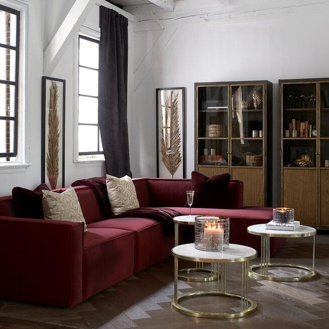 Rivièra Maison Modulaire Bank 'The Jagger' Center 125cm, Velvet, kleur Vineyard Burgundy
