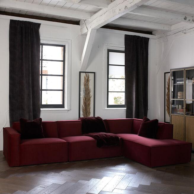 Rivièra Maison Modulaire Bank 'The Jagger' Corner Links, Velvet, kleur Vineyard Burgundy