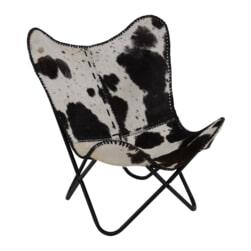 Lesli Vlinderstoel 'Cow' kleur Zwart/Wit