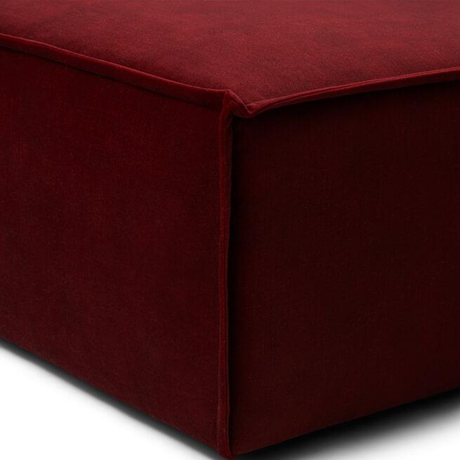 Rivièra Maison Modulaire Bank 'The Jagger' Chaise Lounge Rechts, Velvet, kleur Vineyard Burgundy