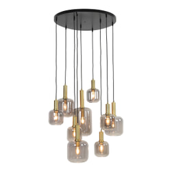 Light & Living Hanglamp 'Lekar' 9-Lamps, antiek brons+smoke glas