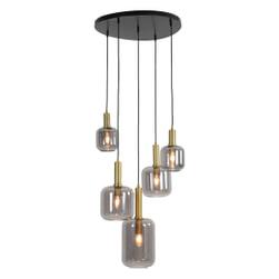 Light & Living Hanglamp 'Lekar' 5-Lamps, antiek brons+smoke glas, Ø66cm