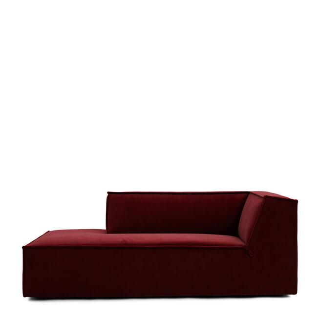 Rivièra Maison Modulaire Bank 'The Jagger' Chaise Lounge Links, Velvet, kleur Vineyard Burgundy