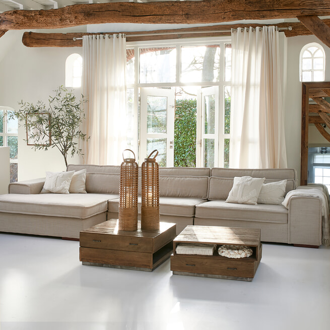 Rivièra Maison Loungebank 'The Onassis' XL, Celtic Weave, kleur Chelsea Flax