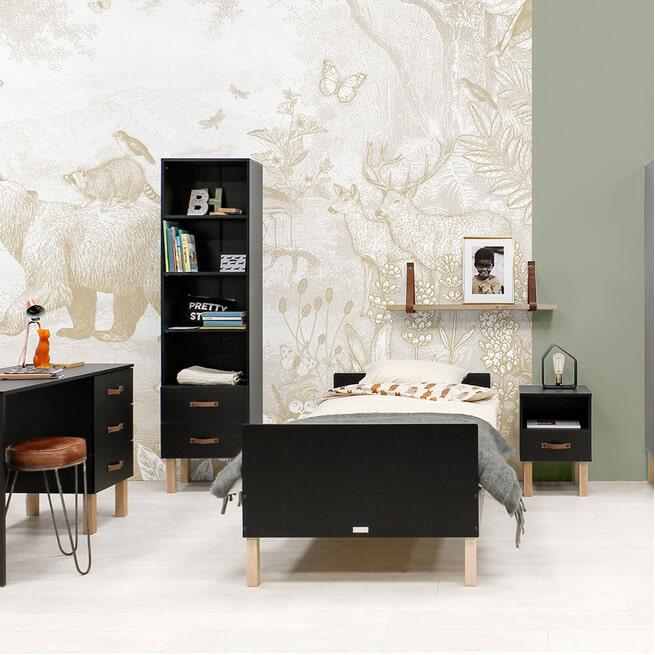 Bopita Boekenkast 'Floris' kleur mat zwart / naturel