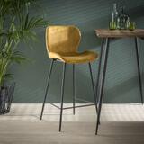 Barstoel 'Gael' Velvet, kleur Goud (zithoogte 67cm)