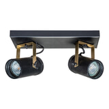 Dutchbone Plafondlamp 'Scope' 2-lamps, kleur Zwart