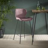 Barstoel 'Gael' Velvet, kleur Roze (zithoogte 67cm)