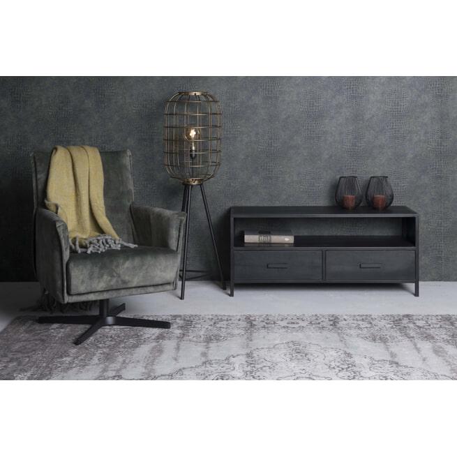 LivingFurn TV-meubel 'Kala' Mangohout en staal, 120cm