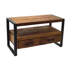 LivingFurn Industrieel TV-meubel 'Strong' Mangohout en staal