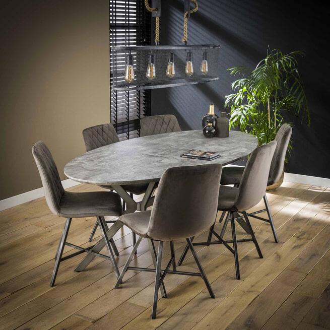 LifestyleFurn Ovale Eettafel 'Nola' Betonlook, kleur grijs