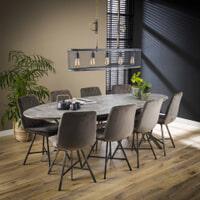 LifestyleFurn Ovale Eettafel 'Nola', Betonlook, kleur Grijs, 240 x 105cm
