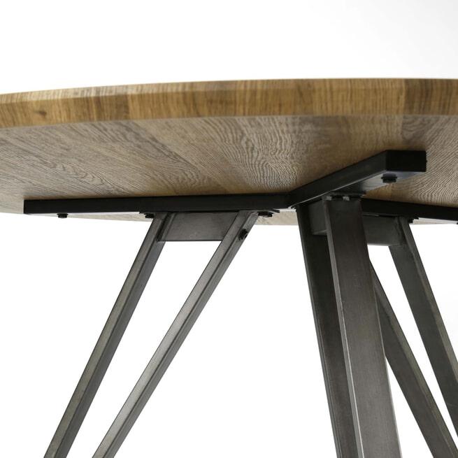 Industriële Ronde Eettafel 'Judy' 120cm, 3D-eikenlook