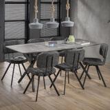 Eettafel 'Lakia' 190 x 90cm, 3D-betonlook, kleur grijs