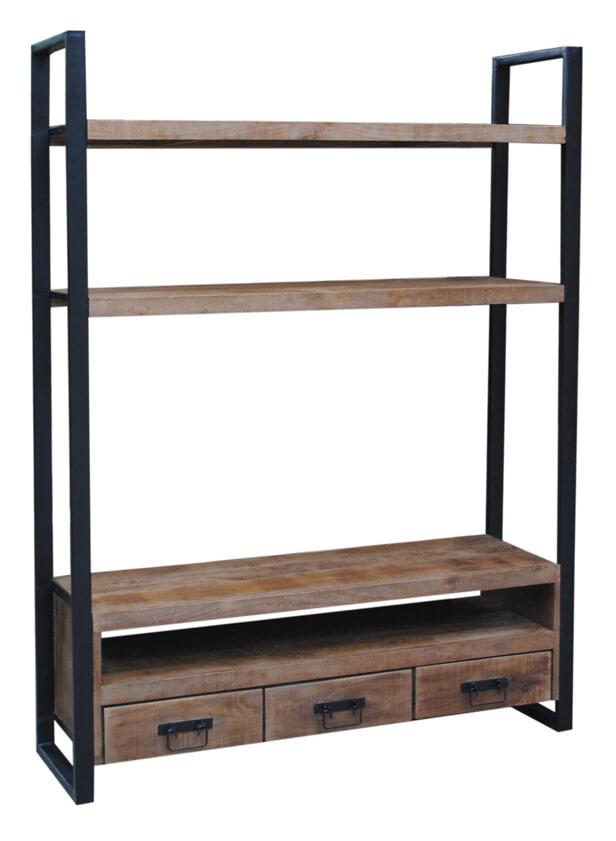 LivingFurn TV-meubel 'Strong High' Mangohout en staal, 150 cm