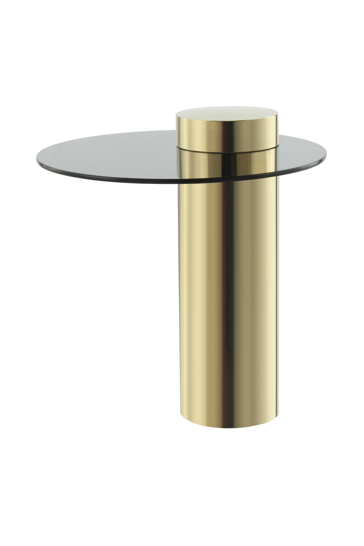 Kayoom Bijzettafel 'Ontario' 46cm, kleur goud / donker glas
