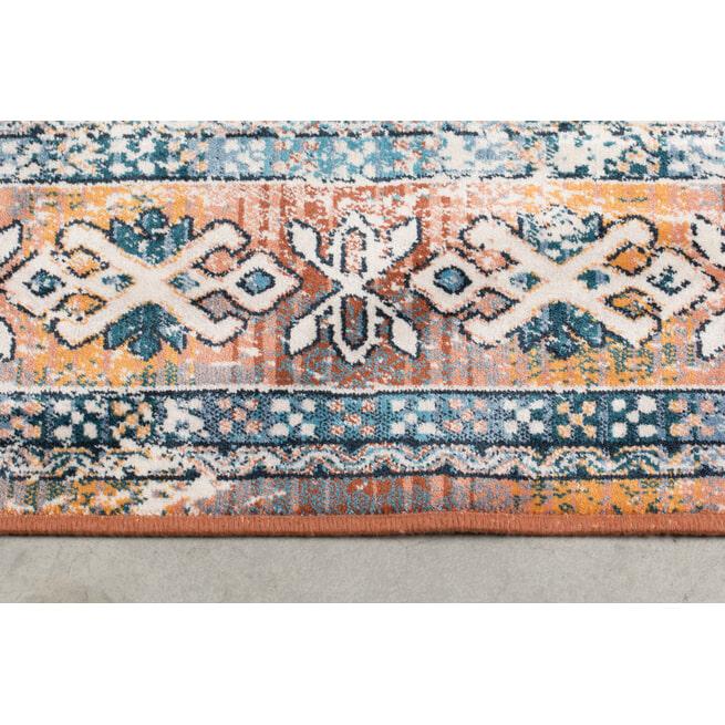 Dutchbone Vloerkleed 'Mahal' kleur Blue/Brick