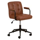 Bendt Bureaustoel 'Lennix' met armleuning, PU, kleur Bruin