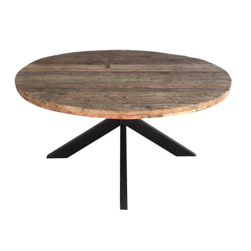 LivingFurn Ronde Eettafel 'Dakota' Riverwood en staal