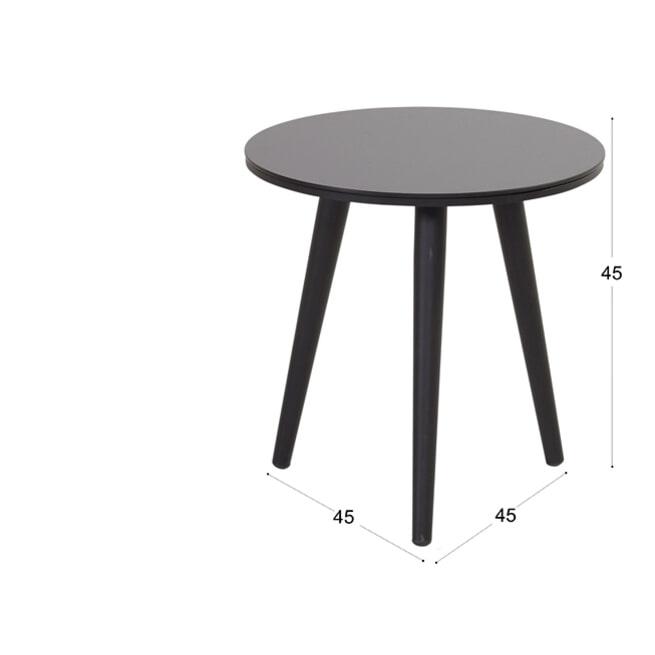 Hartman Outdoor Ronde Bistrotafel 'Sophie' HPL, 45 x 45cm, kleur Zwart