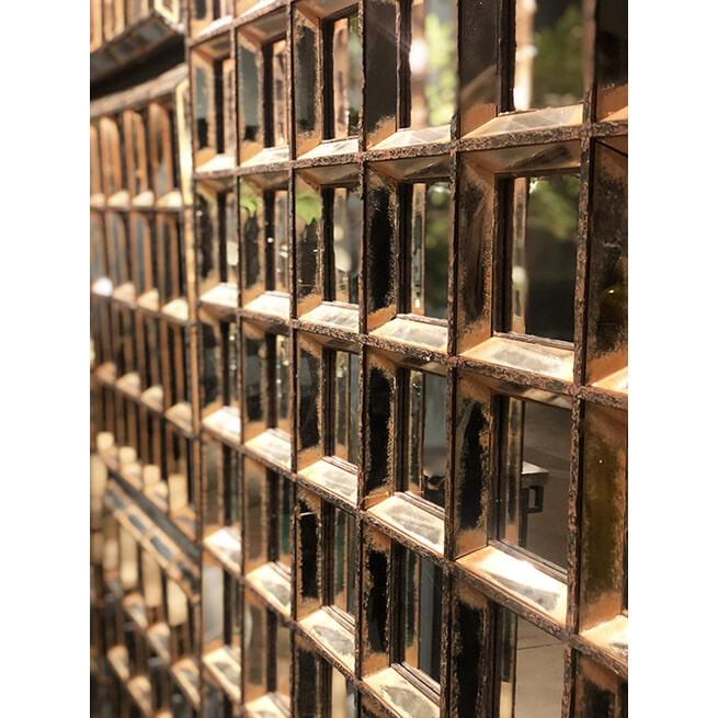PTMD Spiegel 'Darwin', Glas en Polyresin, 60 x 60xcm, kleur Roestbruin