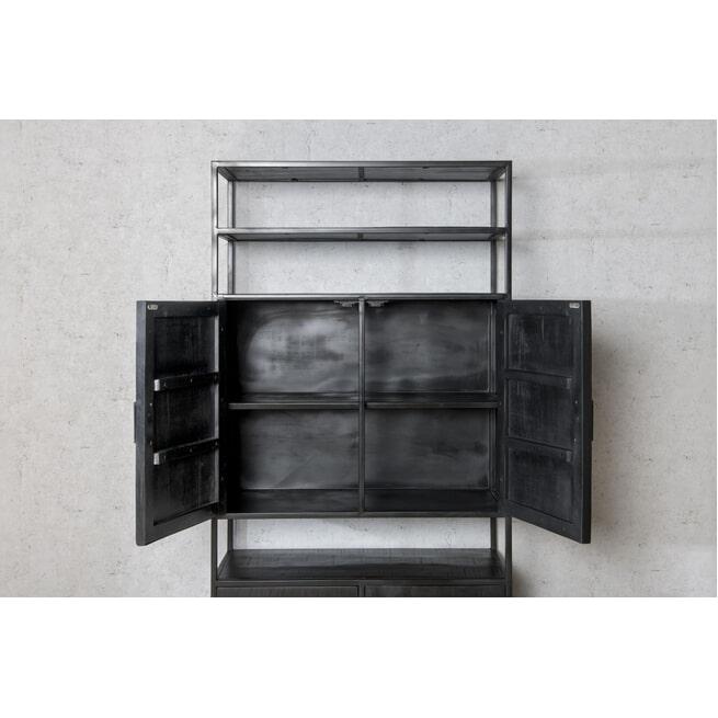 LivingFurn Opbergkast 'Kala' Mangohout en staal, 200 x 100cm