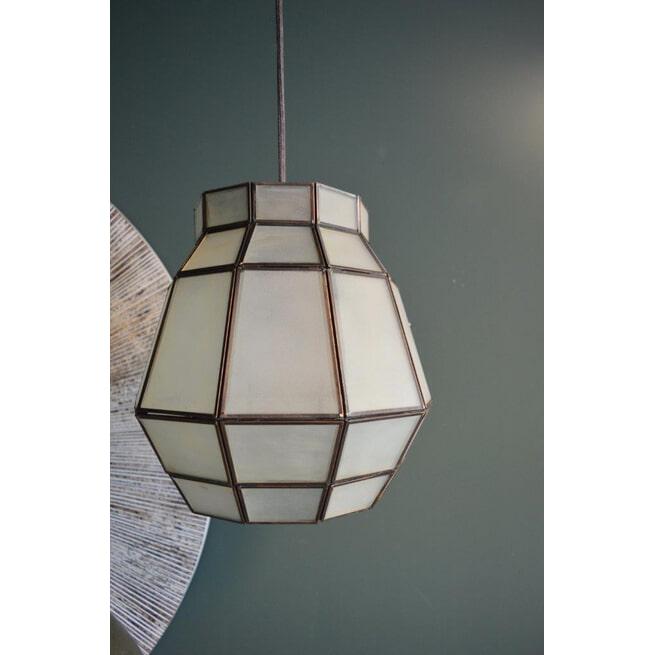 PTMD Hanglamp 'Iron Design', Glas, 30 x 29cm, kleur Wit