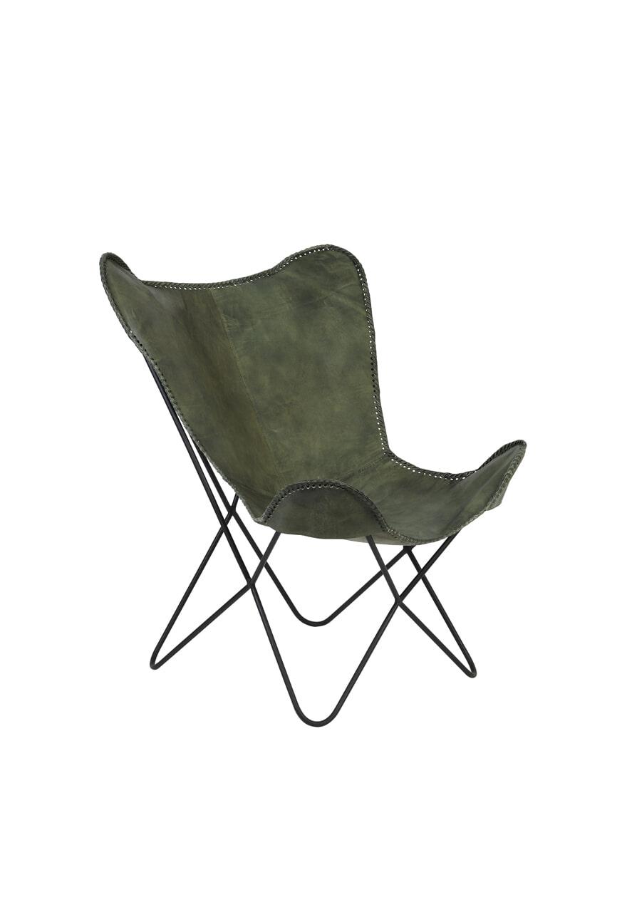 Light & Living Vlinderstoel 'Butterfly', leer groen