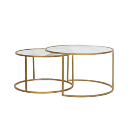 Light & Living Salontafel 'Duarte' Set van 2 stuks, glas-goud