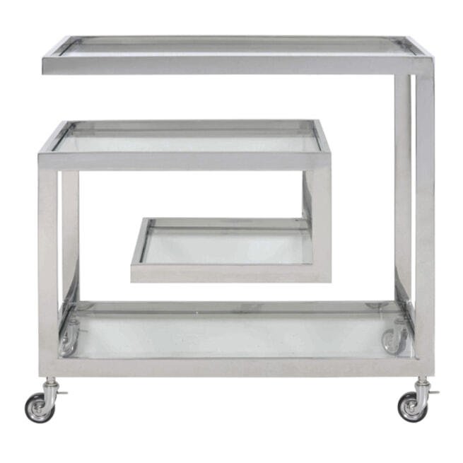 Light & Living Trolley 'Tuncay' Glas en Nikkel